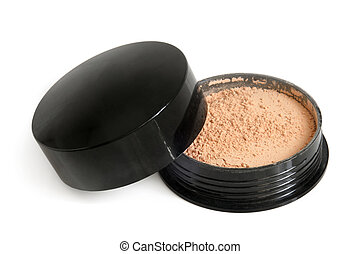 Makeup powder in box on a white background