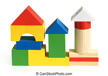 House made from children's wooden building blocks