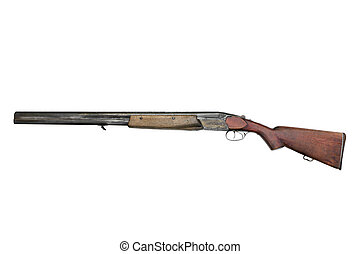 Old hunting gun TOZ-34ER, isolated on a white background