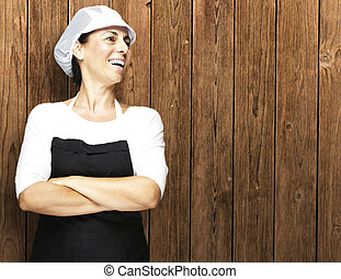 woman smiling - portrait of middle aged woman smiling...