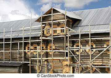 Building of russian wooden house - Building of russian...
