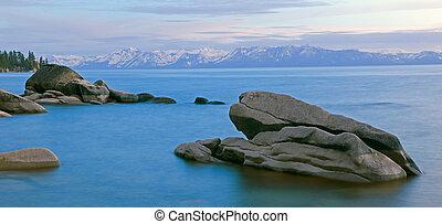 Pink Sunset Over Lake Tahoe - Lake Tahoe Pink Sunset