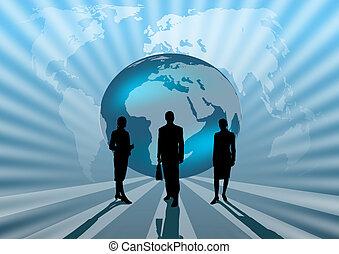 business people international on blue globe illustration