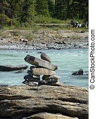 Inukshuk at Athabasca Falls - An Inukshuk by the falls