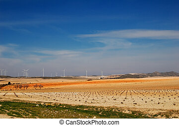 spanish landscape with windpower generators