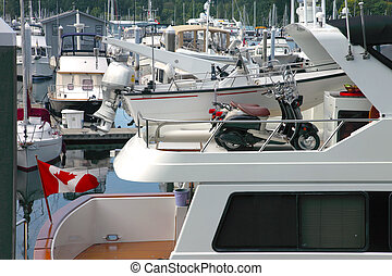 Two scooters on a yacht, Vancouver BC Canada - Two scooters...