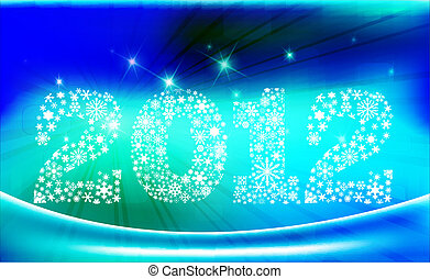 Year 2012 with snowflakes  & lights