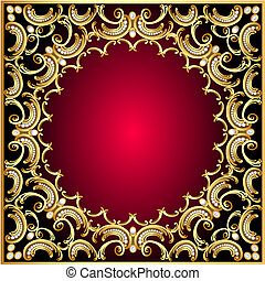 background frame with pearl and golden pattern -...