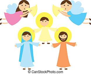 Holy Family of Nazareth with angels, card. vector