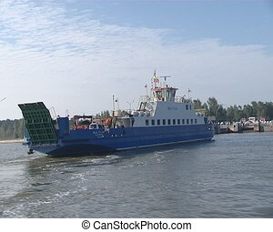 Ferry Baltija and hovering seagull. Ship for transportation....