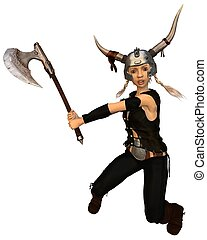 Cute Fantasy Viking Girl with Axe