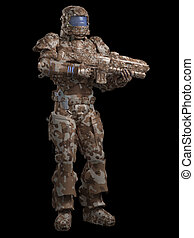 Space Marine Trooper in Desert Camo - Futuristic sci-fi...