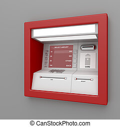 ATM machine on gray wall
