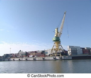 Containers, cranes, boats, marinas.