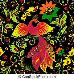 bird - Illustration of seamless pattern with bird and...