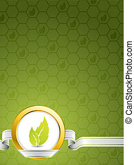Eco background design with golden ring and green leaves