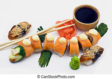 A Red Dragon Rolls Beside Sushi Eel with Wasabi,...