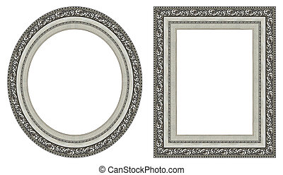 Silver picture frames - Oval and rectangular gold picture...