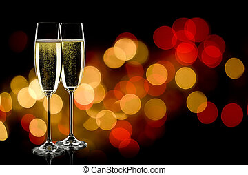 champage glasses - two glasses of sparkling wine with...