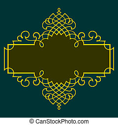 Frame - Elegance color frame on dark green background