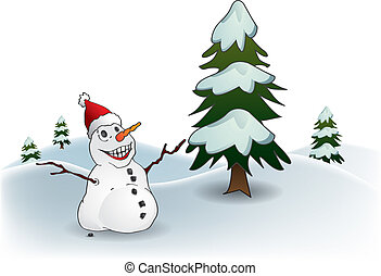 Postcard with happy snowman