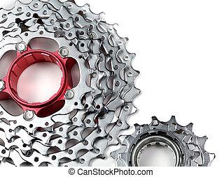 Chainrings set - Mountain bike rear cassette on white...