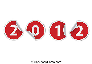 new year 2012 stickers - happy new year 2012 vector stickers