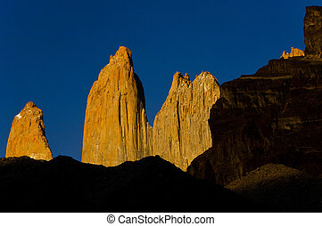 torres del paine towers at sunrise, torres del paine national park, chile