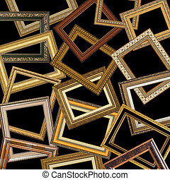 set of gold picture frames with a decorative pattern
