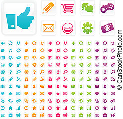 Social Media Business Icons - Set of social media and...