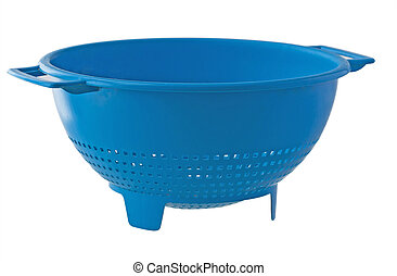 Colander - A blue colander isolated over white background