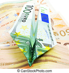 euro bills - paper plane made with a 100 euro bill