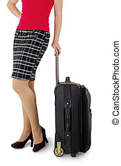 woman legs with a suitcase on the white background