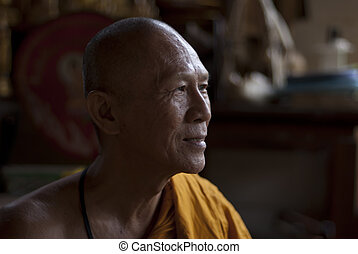 Buddhist Monk In Thailand - A photographic image of an old...