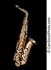 Saxophone Jazz instrument on black - Alto Saxophone woodwind...