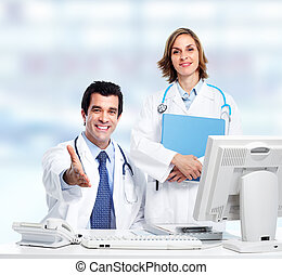 Group of medical doctors Over blue background Health care