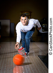 bowling - a young man playing bowling