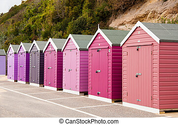 Colorful Beach Huts - Colorful, colourful beach huts at an...
