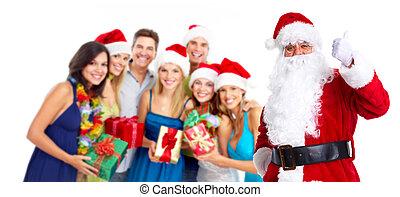 Santa Claus. - Traditional Christmas Santa Claus and group...
