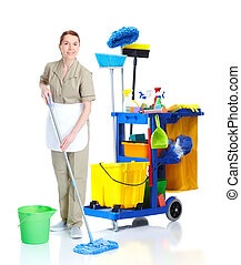 Cleaner maid woman washing floor. - Cleaner maid woman with...