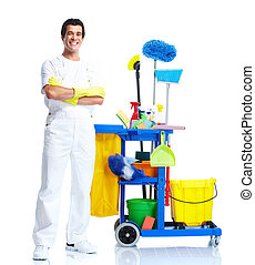 Cleaner. - Young smiling cleaner. Isolated over white...