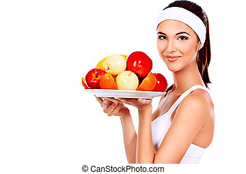 vitamins - Portrait of a beautiful young woman with fruits....