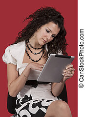 Girl and tablet pc