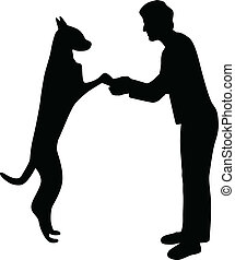 woman and dog silhouette vector - woman and dog separate...