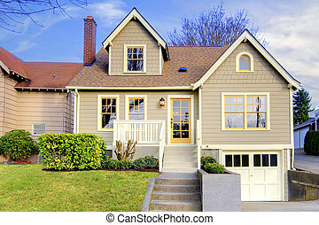 Cute craftsman style home with unique colot combination