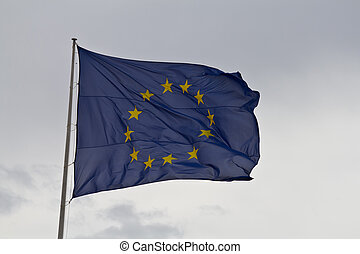 European union flag - A european union flag waving on a...