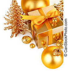 gold christmas gift with balls isolated on white background