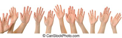 Hand gesture high five on white