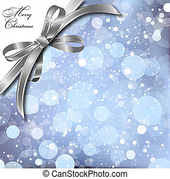 Silver bow on a magical Christmas card. Vector