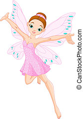 Cute pink fairy - Illustration of a cute pink fairy in...